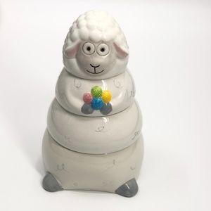 Sheep needle art/jewerly storage canister